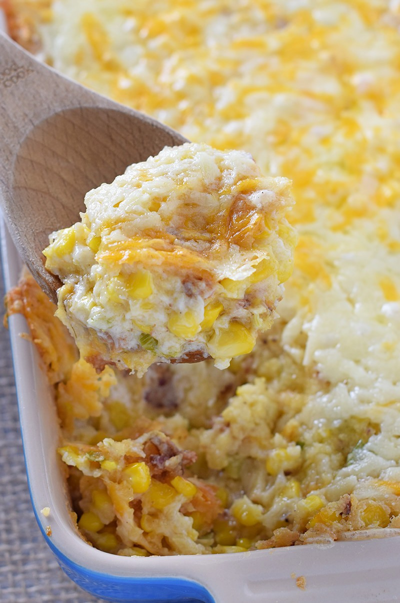 How to make the most delicious Creamy Bacon Corn Casserole with simple ingredients like cornbread and cream cheese. Favorite holiday side!