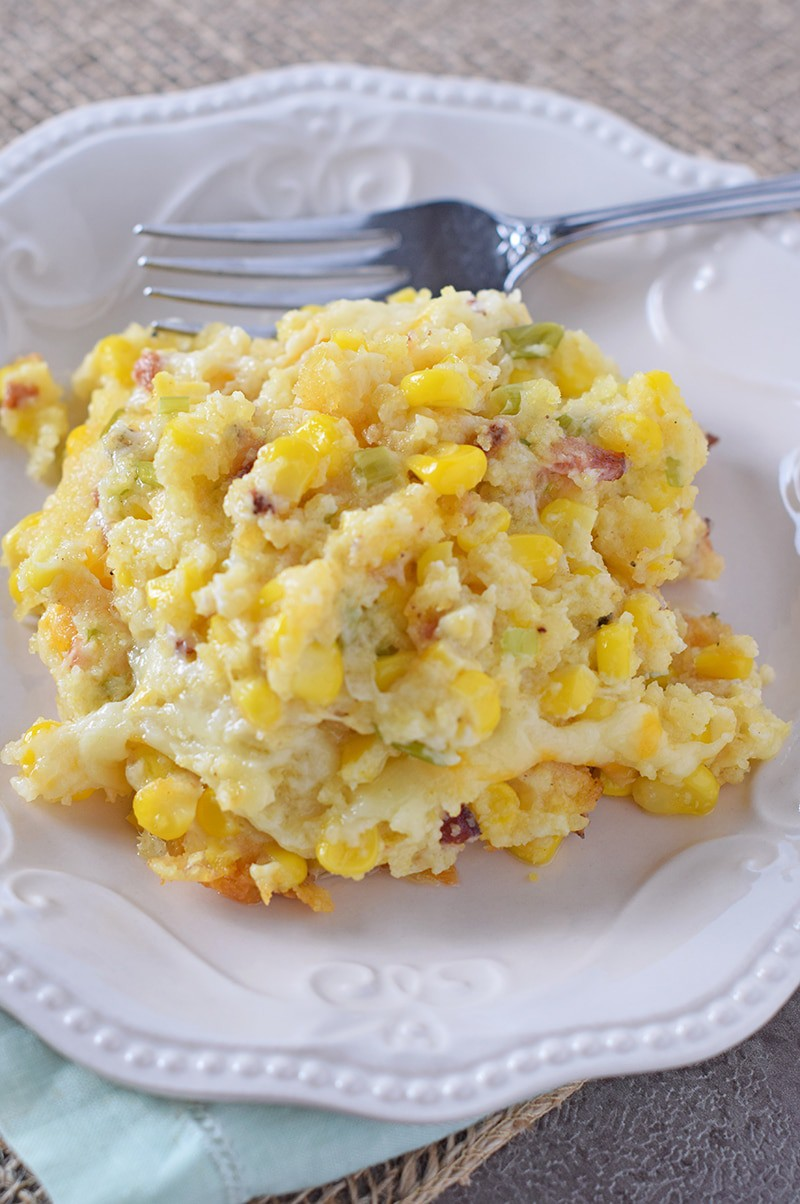 Creamy Bacon Corn Casserole is one of my favorite Thanksgiving sides. Creamy, cheesy, bacon goodness in a casserole dish. Yum!
