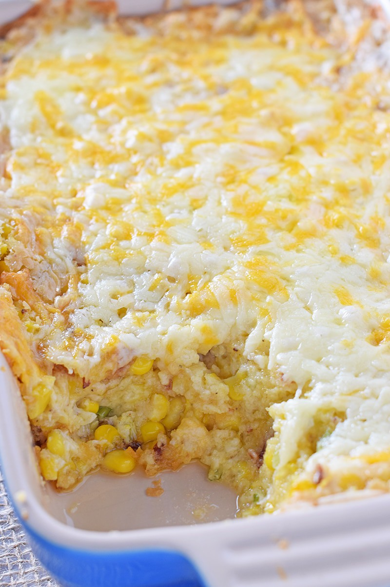 Delicious Creamy Bacon Corn Casserole for Thanksgiving, Christmas, even Easter dinner. Cornbread, cream cheese, bacon, and more in one big casserole.