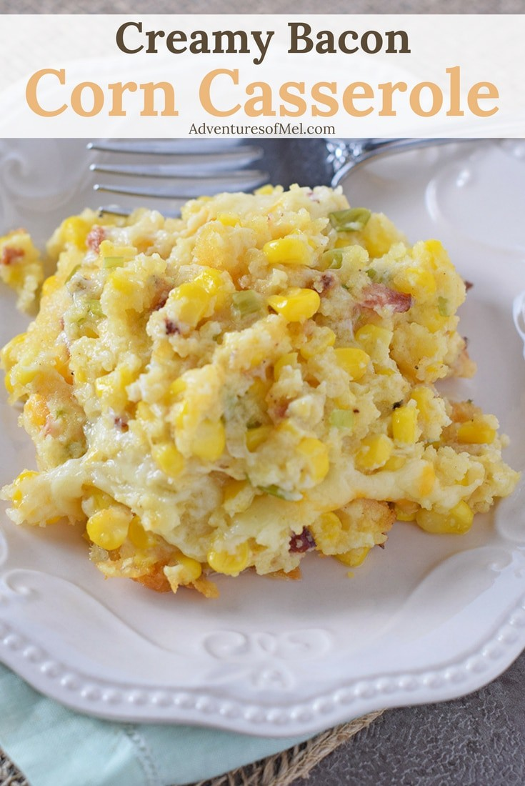 Creamy Bacon Corn Casserole recipe, easy to make and so delicious. Made with cornbread and cream cheese. One of my family's favorite holiday sides!