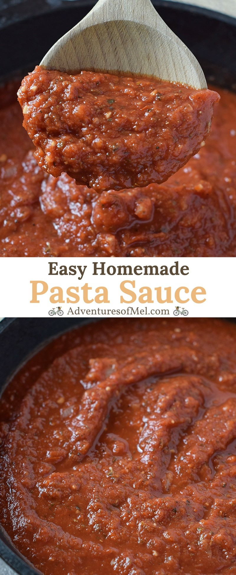 Homemade Pasta Sauce for spaghetti, lasagna, and other favorite pasta dishes. Simple ingredients and delicious flavor, good with meat or go meatless!