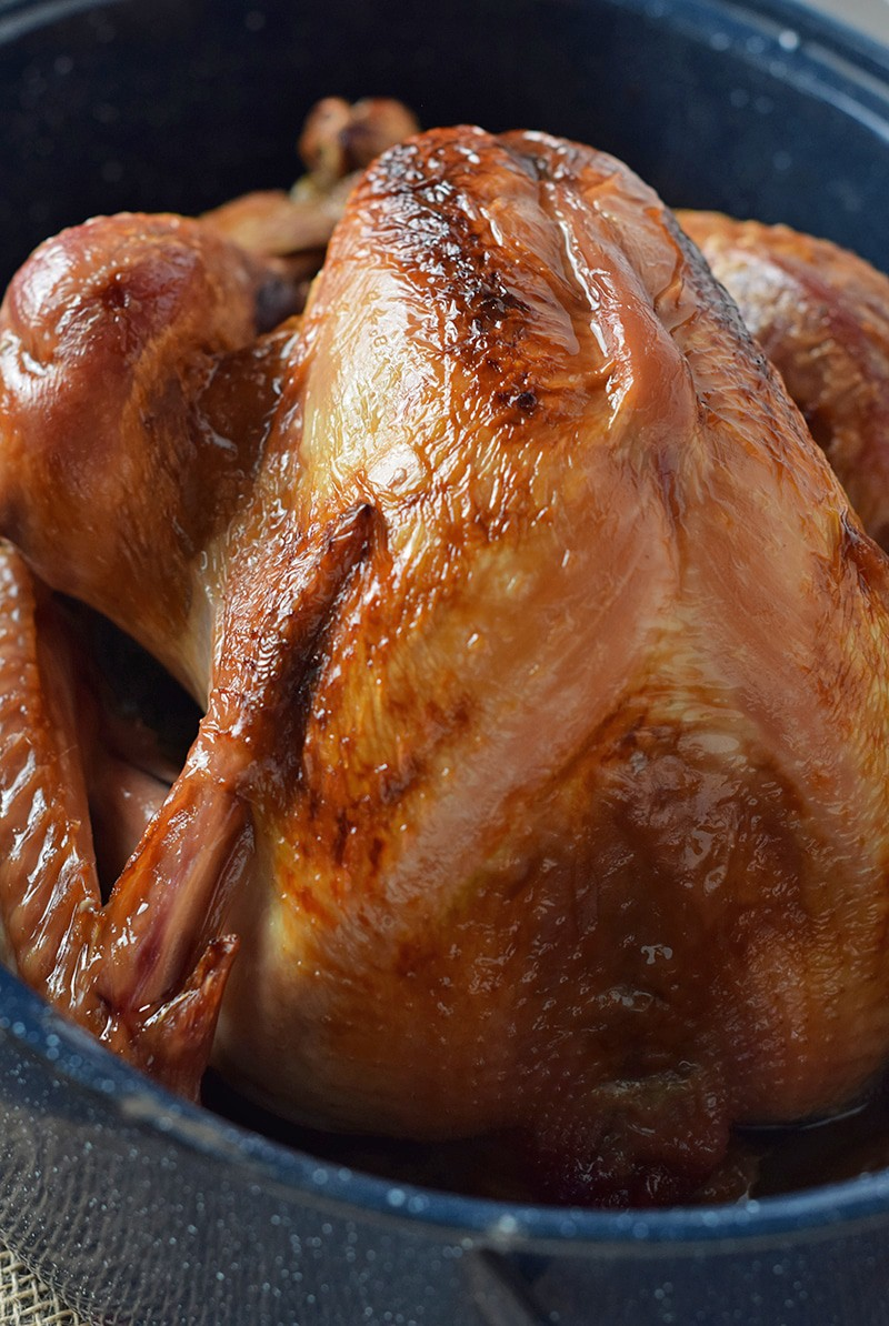 The best turkey for both weeknight meals and holiday dinners. Maple Bourbon Brined Roasted Turkey is so moist and delicious.