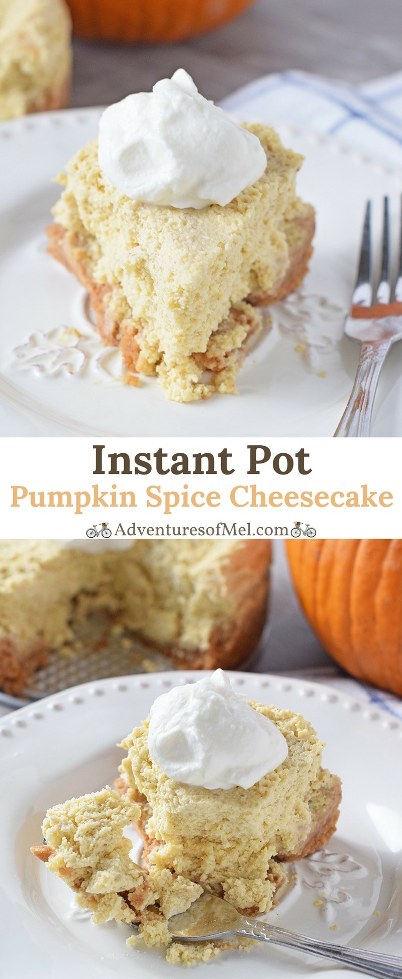 Pumpkin Spice Cheesecake, made in the Instant Pot. Easy fall and holiday dessert recipe with a graham cracker crust, full of delicious fall flavors.