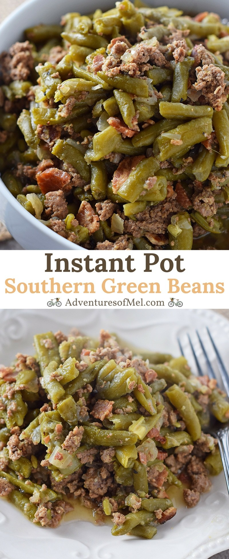 Southern Green Beans, made with bacon, onion, and ground beef in the Instant Pot. Delicious side dish recipe, perfect for holidays or weeknight meals.