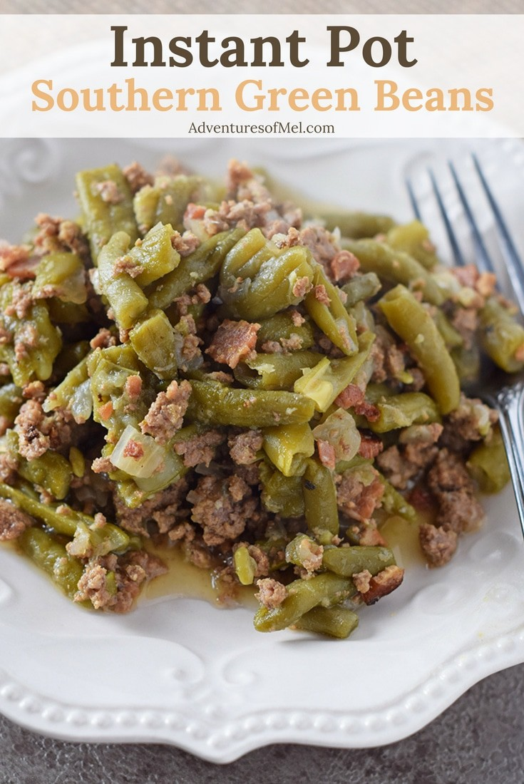 Southern Green Beans, made in the Instant Pot. Incredible flavor, made with bacon, onion, and ground beef. Delicious recipe, perfect for holidays or dinner.