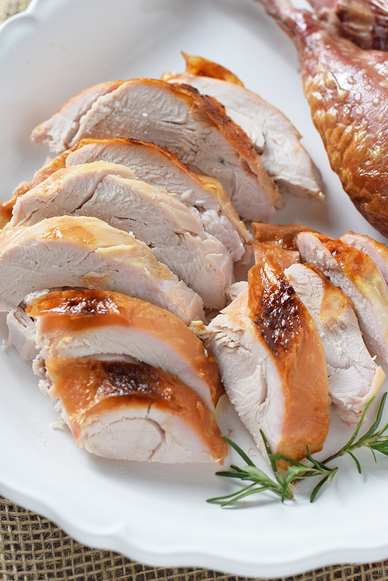 How to make a perfectly cooked, moist, delicious Maple Bourbon Brined Roasted Turkey. My favorite turkey recipe ever.