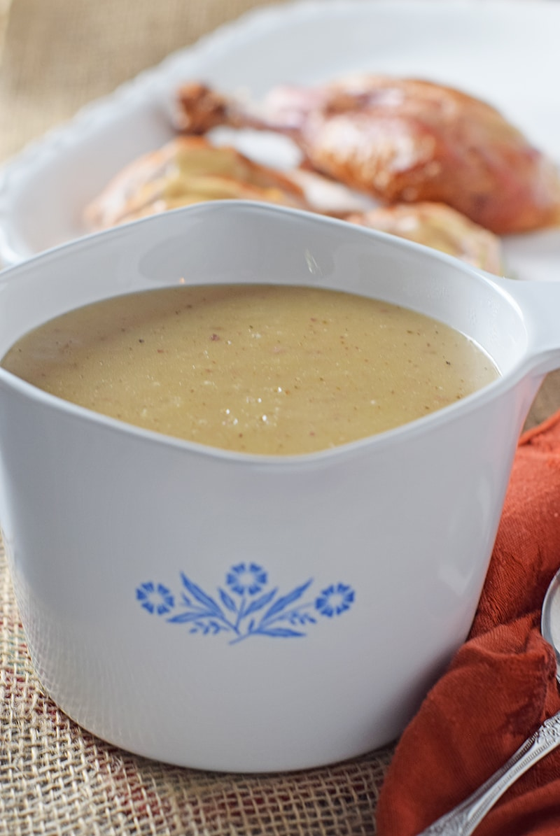 Use leftover turkey drippings to make a quick batch of Homemade Turkey Gravy to go with your holiday dinner. Delicious side dish recipe!