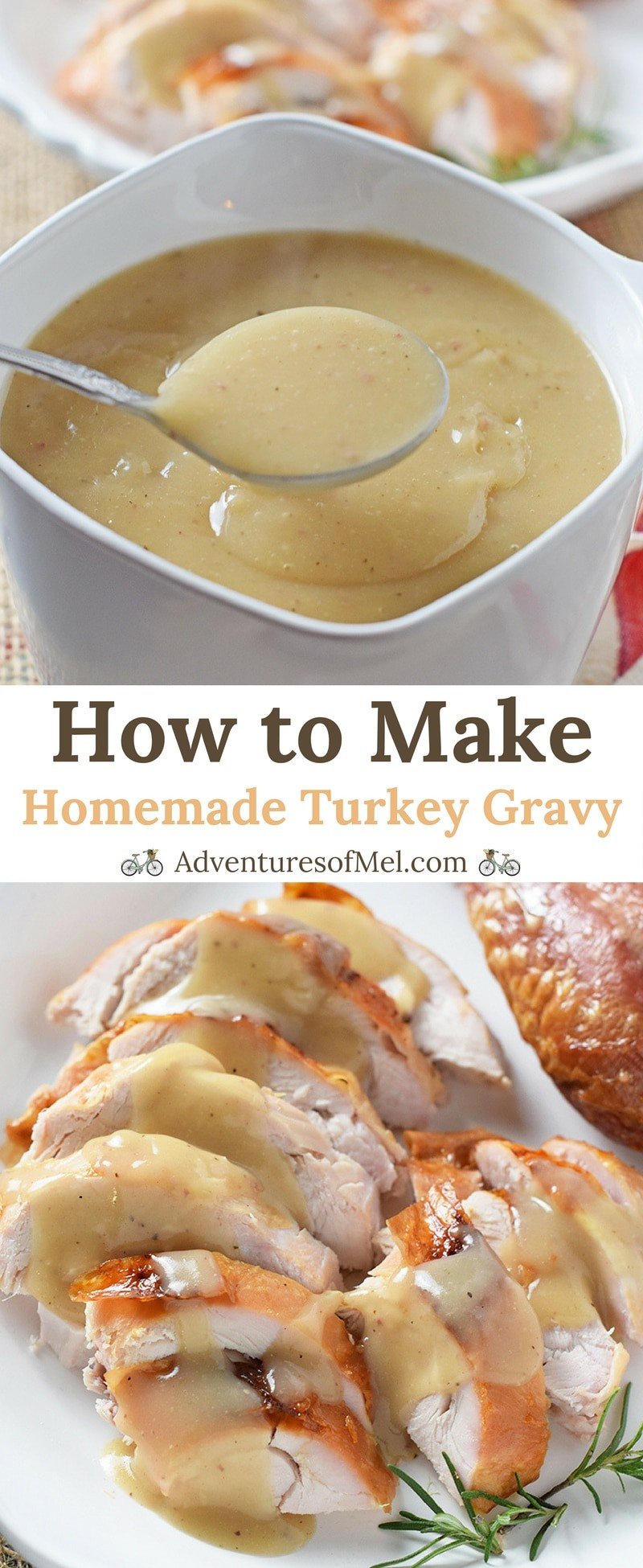 Homemade Turkey Gravy, made with leftover turkey drippings and neck broth. Delicious side dish with turkey, mashed potatoes, and all the fixings!
