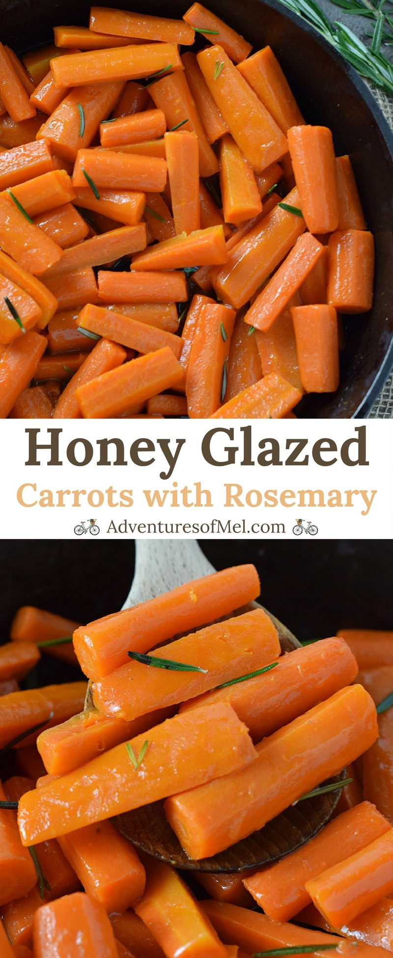 Honey Glazed Carrots, made with simple ingredients like butter, honey, and rosemary. Delicious side dish recipe, perfect for holidays or weeknight meals.