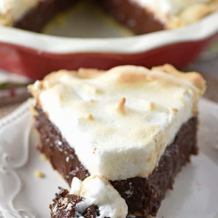 Chocolate Meringue Pie with an old-fashioned, rich, chocolatey flavor. It's always been one of my favorite desserts. So creamy and delicious!