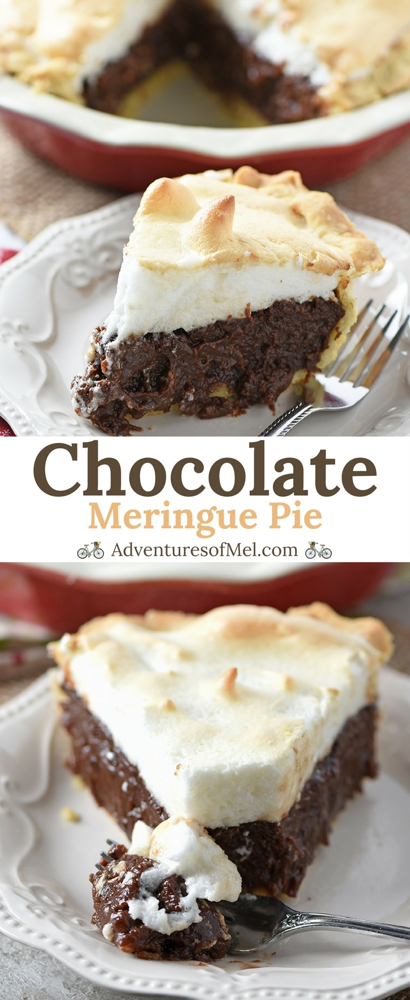 Chocolate Meringue Pie with a rich, creamy filling and fluffy homemade meringue. Delicious dessert recipe perfect for your inner chocolate lover!