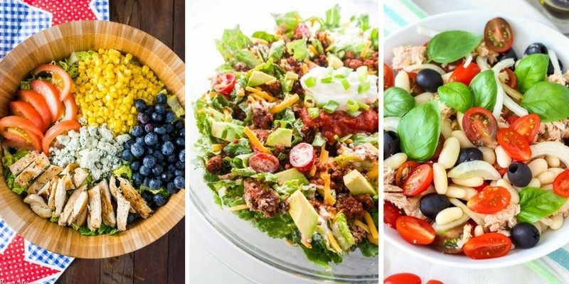 Colorful Salads with meat in them