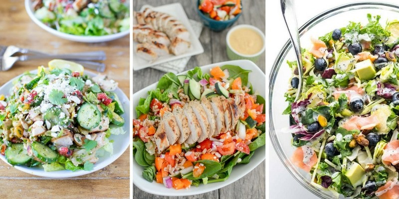 colorful salads featuring meat