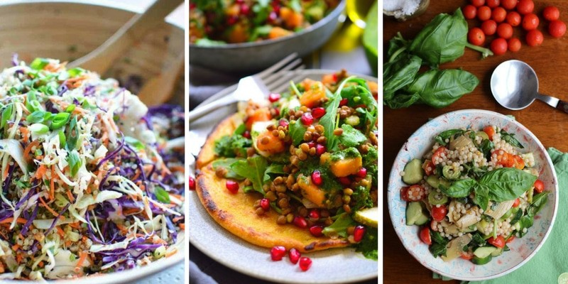 Colorful Salads with a meatless ingredient list