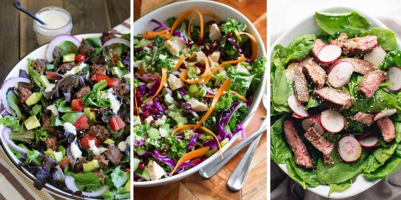 Colorful Salads with meat