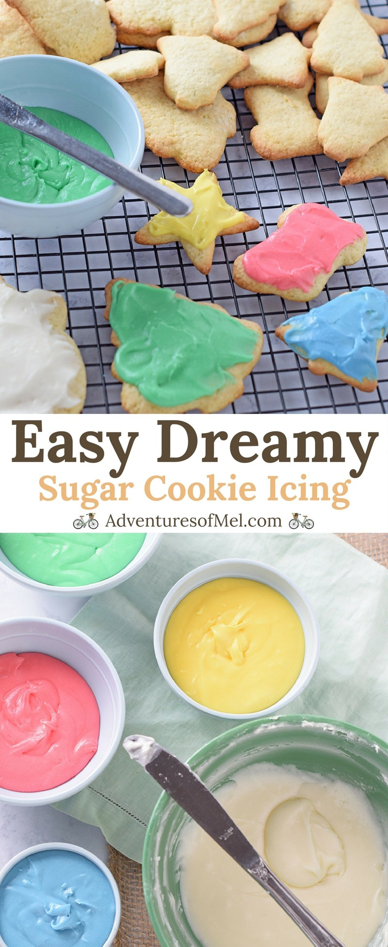 Easy Sugar Cookie Icing, made with powdered sugar and a flavorful secret ingredient. So creamy delicious, my favorite recipe for cookie decorating.