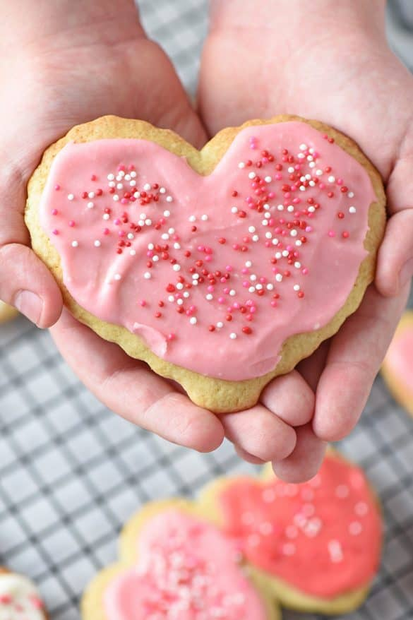 Easy Sugar Cookie Icing for Valentine Heart Shaped Cookies
