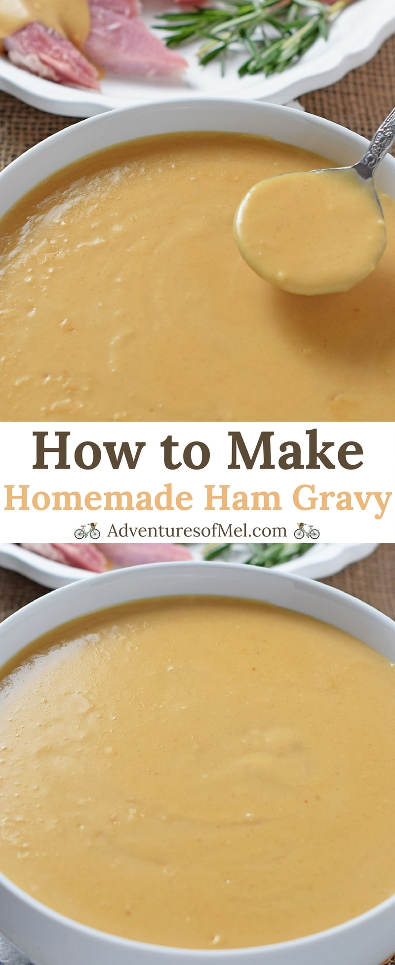 Homemade Ham Gravy, made with leftover ham drippings. Delicious side dish with ham, mashed potatoes, and all the fixings!