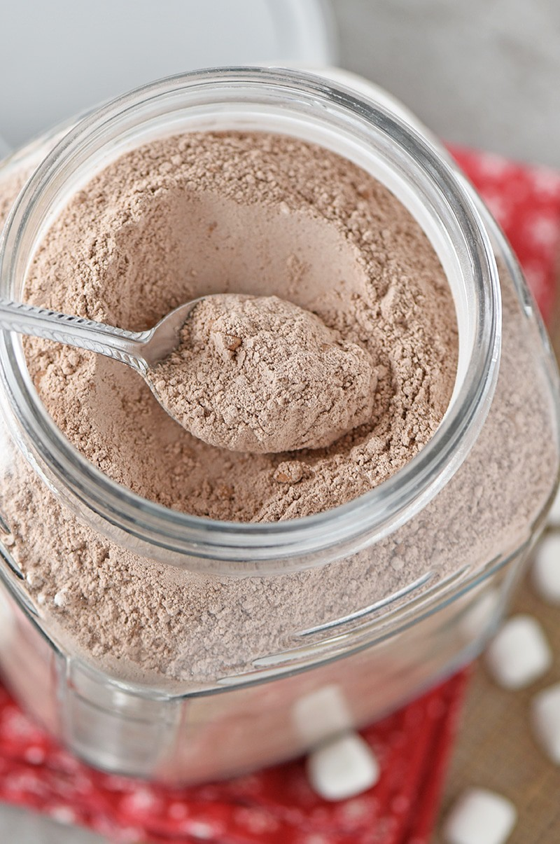 Homemade Hot Chocolate Mix that's easy to make in about 5 minutes. Makes a delicious cup of hot cocoa and a fantastic gift idea!