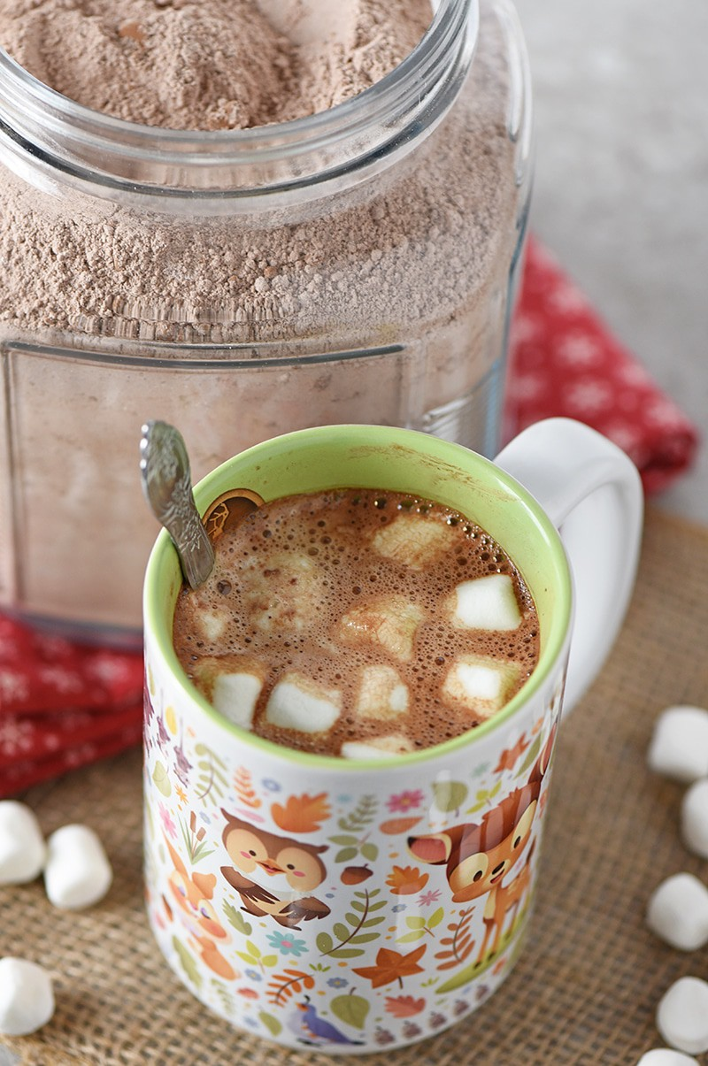 How to make Homemade Hot Chocolate Mix for a warm cup of creamy hot cocoa on a cold winter day, or to give as a meaningful gift idea!