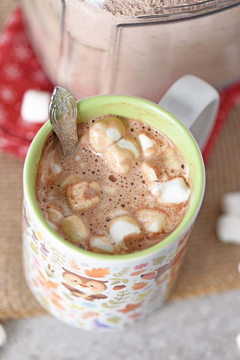 Homemade Hot Chocolate Mix makes the best cup of hot cocoa you'll ever drink. So creamy, so rich, and so delicious. Just add marshmallows or whipped cream on top!