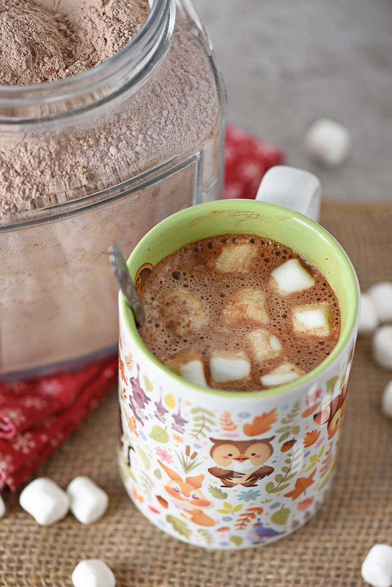 Easy recipe for Homemade Hot Chocolate Mix. Makes a scrumptious mug of hot cocoa. Also makes a fantastic gift idea for Secret Santa, holiday parties, family, and friends.