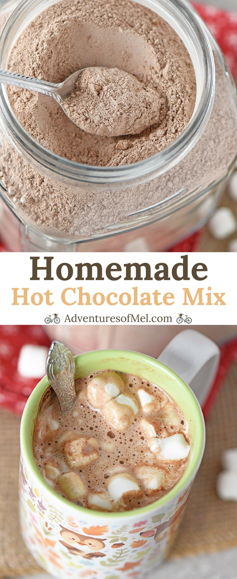 Homemade Hot Chocolate Mix makes a rich, creamy cup of delicious hot cocoa. Easy to make in about 5 minutes and makes a yummy gift idea!
