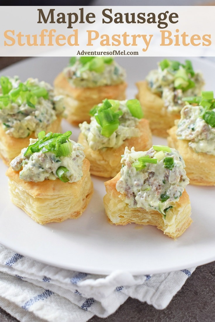 I love finger foods, and Maple Sausage Stuffed Pastry Bites are the ultimate appetizer and finger food. Delicious snack idea for a holiday celebration. Made using cream cheese and spinach. Yum!