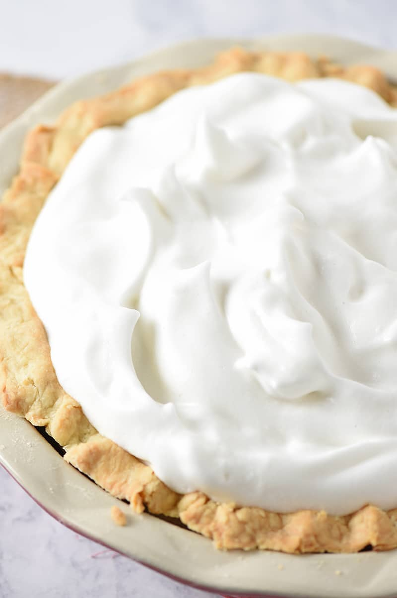 Add a beautiful meringue pie topping to your favorite pie. Mix 4 simple ingredients to make a light, fluffy, scrumptious meringue that doesn't weep.