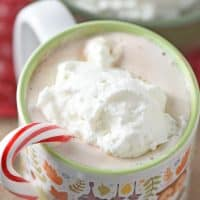 Peppermint Whipped Cream is so easy to make. Perfect topping for your favorite desserts, and I love adding a dollop to my hot chocolate. So deliciously creamy!