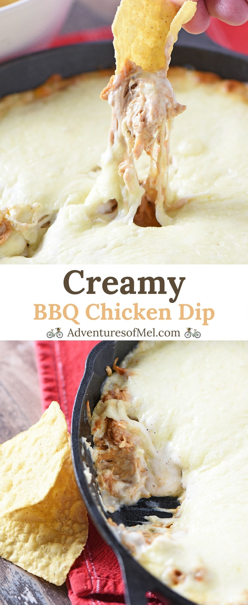 BBQ Chicken Dip, made with cream cheese, is an easy appetizer recipe. Pair it with tortilla chips for a delicious snack your friends and family will love!