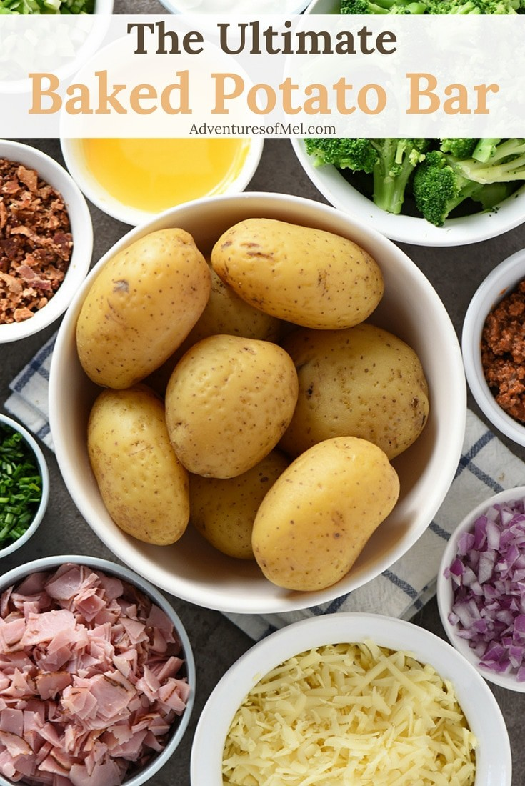 Baked Potato Bar ideas for your next party, family get together, or potluck. Perfect for Game Day appetizers and dinner ideas. Get creative and have a little fun choosing all the fixings for your own baked potato buffet. Better yet, have your guests bring their favorite toppings!
