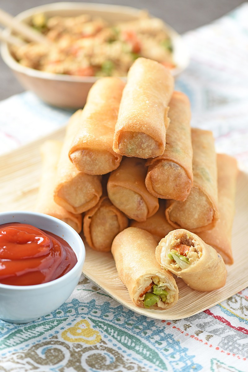 Homemade Chicken Fried Rice Spring Rolls