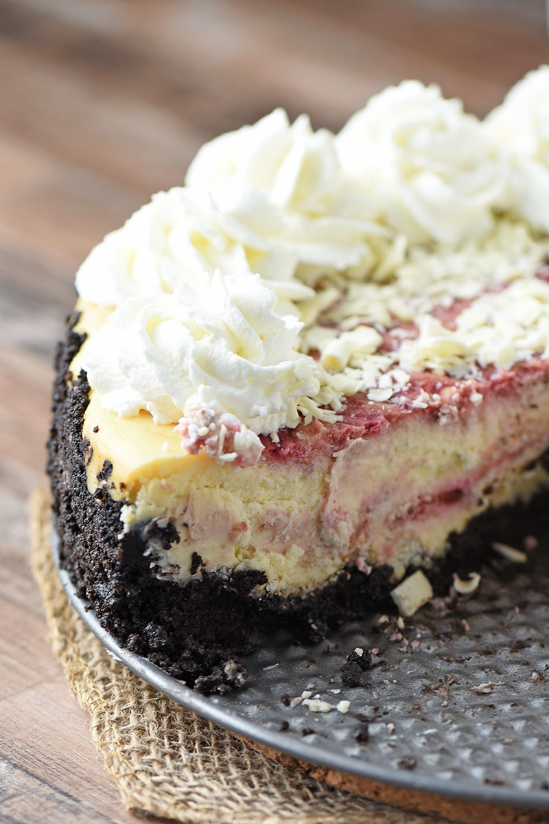 White Chocolate Raspberry Cheesecake with Chocolate Cookie Crust