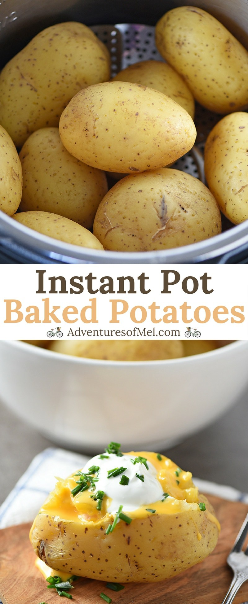 Instant Pot Baked Potatoes are so easy to make, pressure cooked in less than 10 minutes. Tender and delicious, they're a family favorite dinner side.