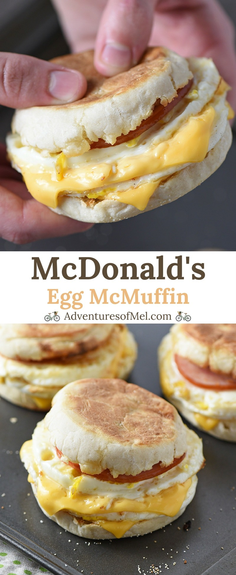 McDonald's Egg McMuffin, made with Canadian bacon, eggs, and cheese, is a delicious homemade breakfast sandwich and a super easy recipe for busy mornings!