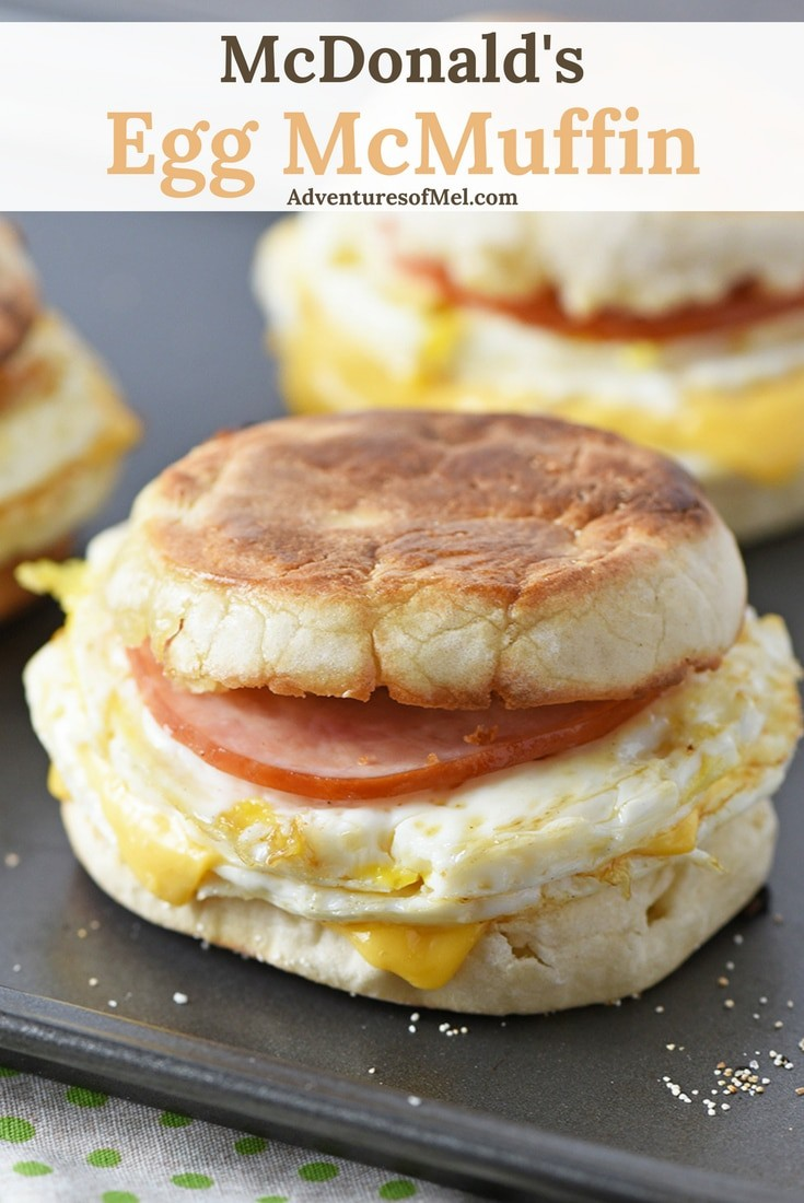 McDonald's Egg McMuffin, homemade with Canadian bacon, eggs, and cheese, is a delicious homemade breakfast sandwich and a super easy recipe for busy mornings on the go!