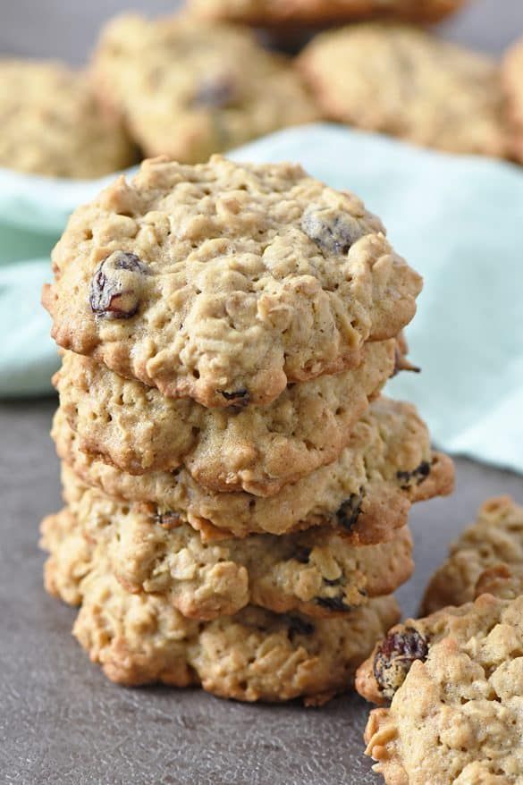 Oatmeal Raisin Cookies have the perfect crispy outer edge and thick, chewy middle. Scrumptious old fashioned cookie recipe with cinnamon and raisins. They remind me of Grandma's oatmeal cookies.