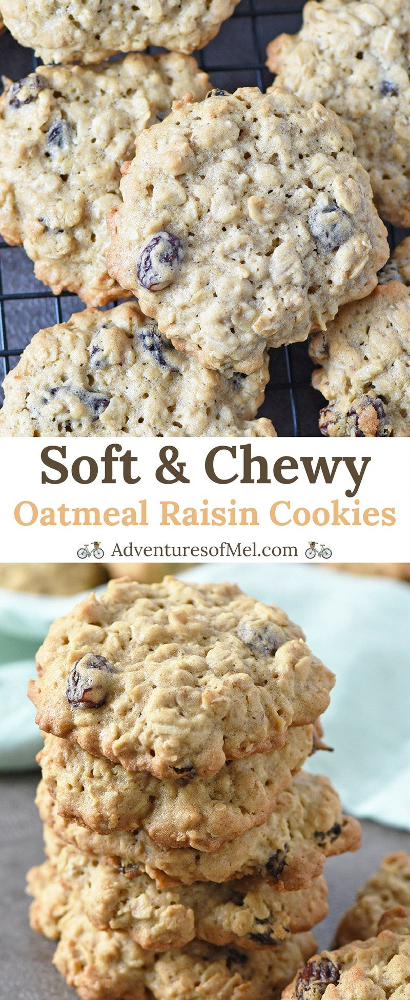 Oatmeal Raisin Cookies, made with brown sugar, cinnamon, and oatmeal, have a crispy outer edge and a soft, chewy middle. Delicious cookie recipe!