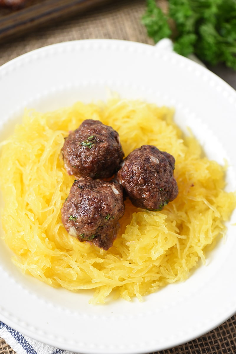 Baked Italian Cauliflower Meatballs on Spaghetti Squash