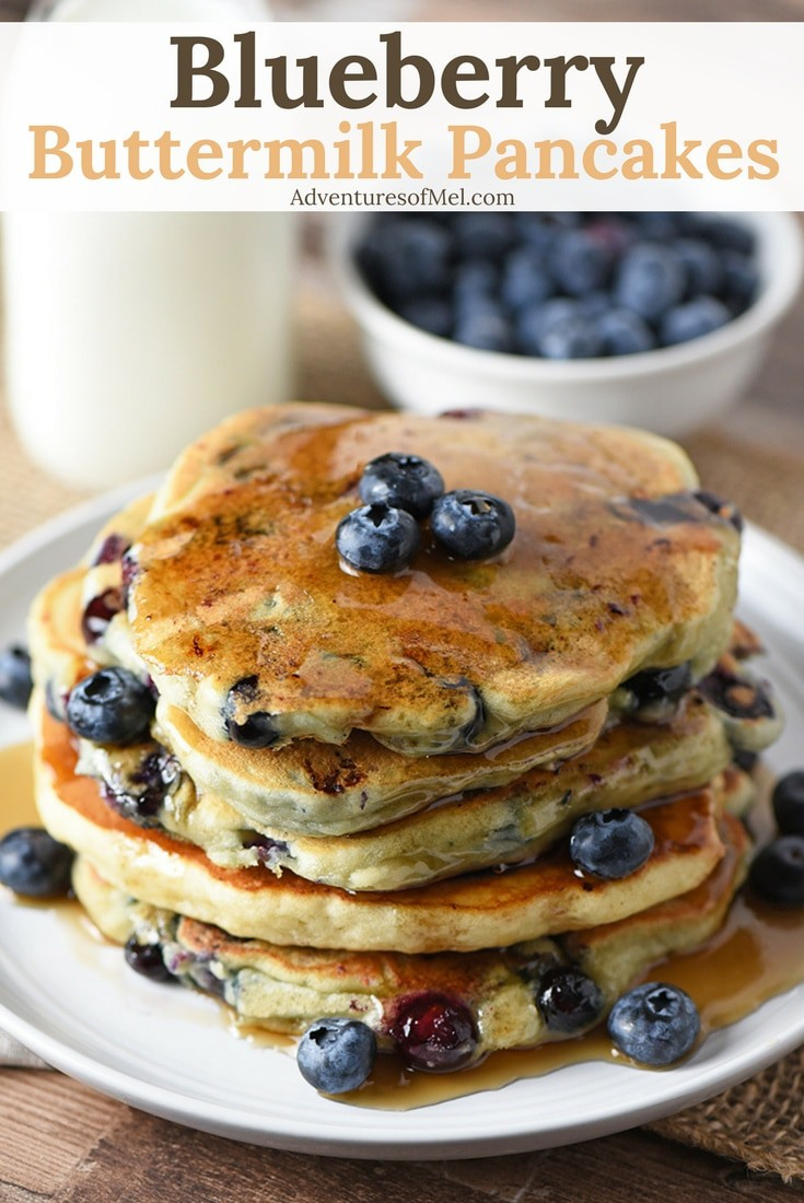 Blueberry Buttermilk Pancakes - Adventures of Mel