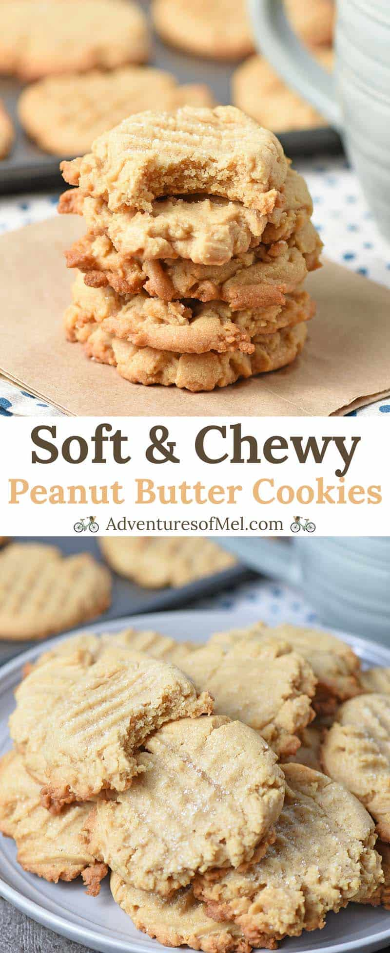 Stacks of Chewy Peanut Butter Cookies