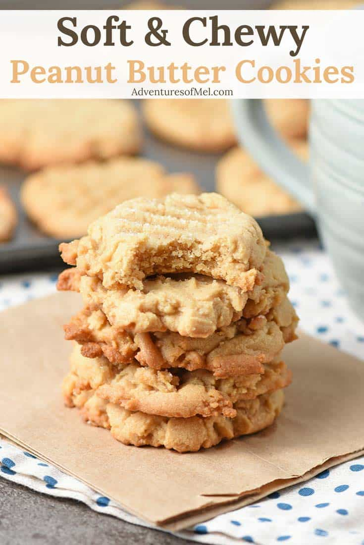 Chewy Peanut Butter Cookies Recipe - Stack of Cookies