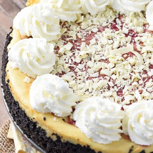 A Close Up of a Heavenly Olive Garden White Chocolate Raspberry Cheesecake, Copycat Style
