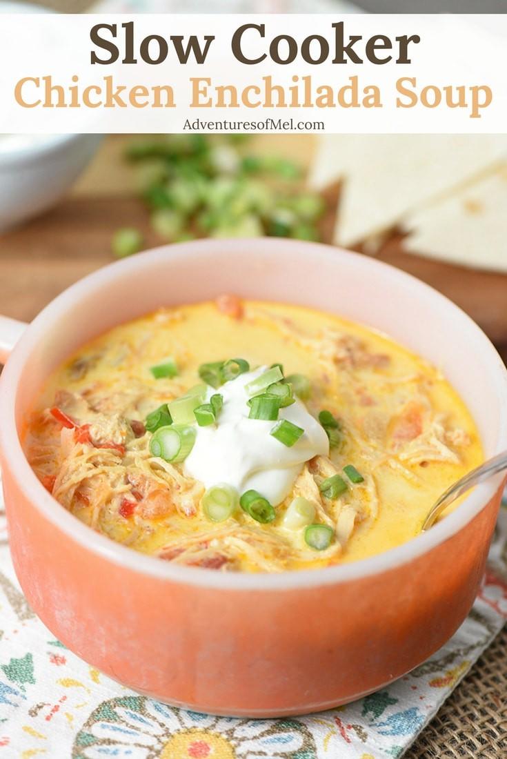 Easy Recipe for Slow Cooker Chicken Enchilada Soup