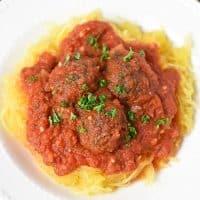 Spaghetti Squash Spaghetti and Meatballs Close Up