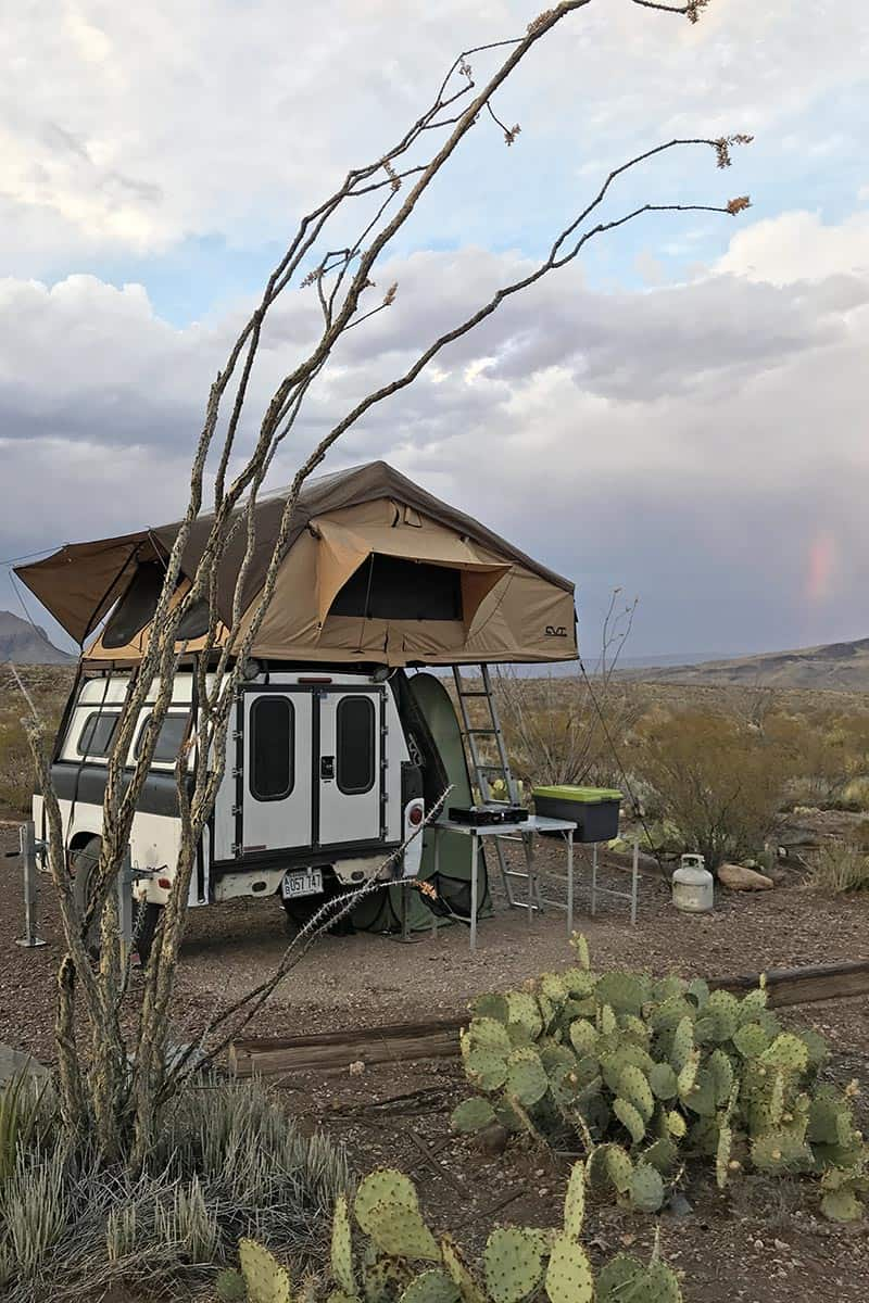 rooftop tent and camp trailer backcountry camping in Big Bend National Park