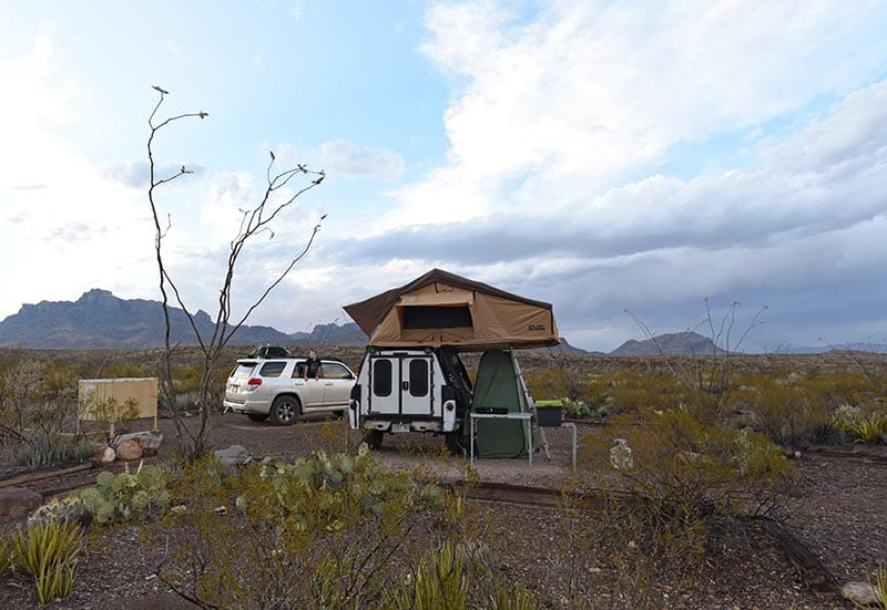 dispersed camping with rooftop Tent, camp trailer, and Toyota 4Runner at Robbers Roost campsite off Juniper Canyon Road in Big Bend in Texas
