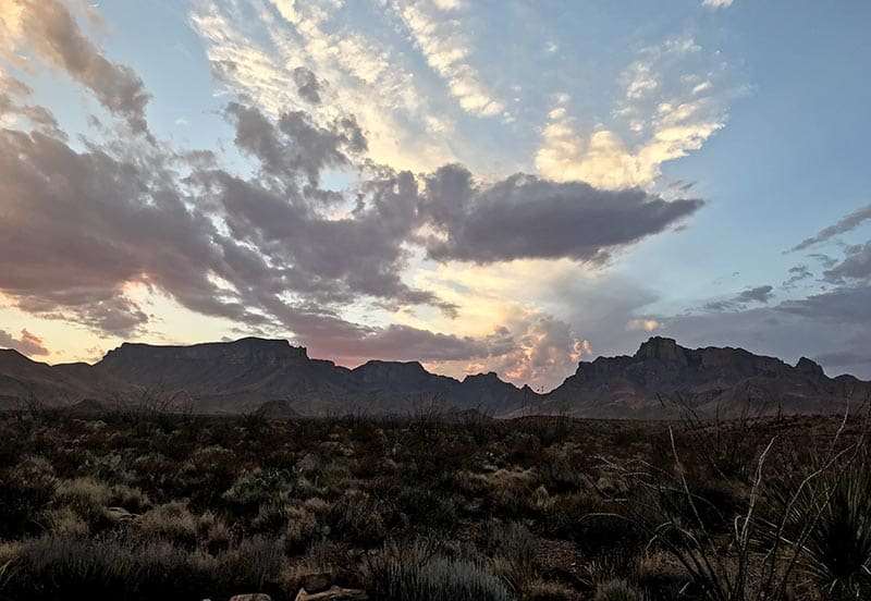 beautiful sunset over the Chisos Mountains while camping in Big Bend National Park