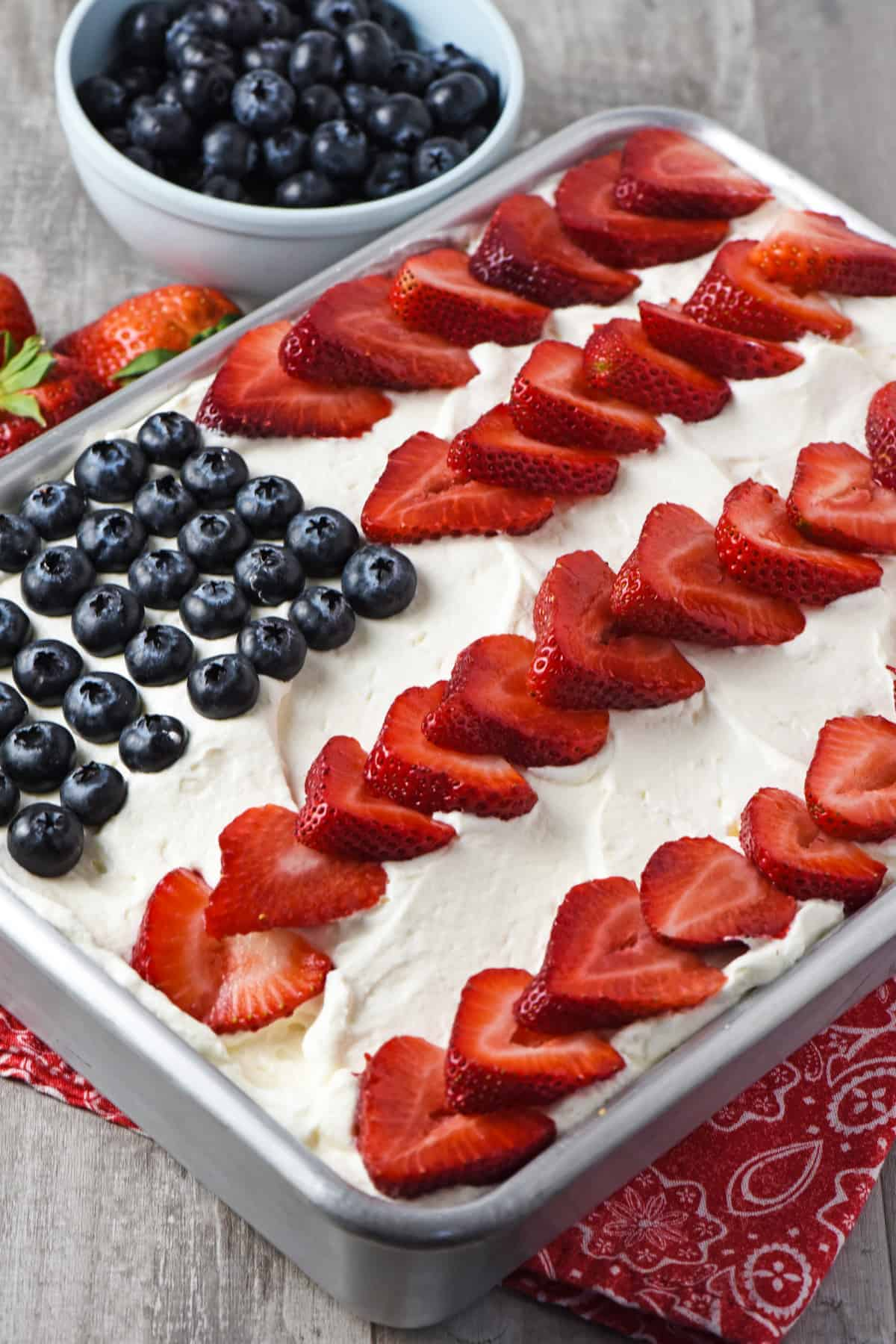 American flag cake in metal cake pan